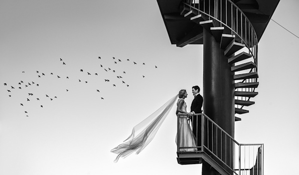 wedding portrait of bride and groom by Josh Kelly of Milque Photography and Films | via junebugweddings.com