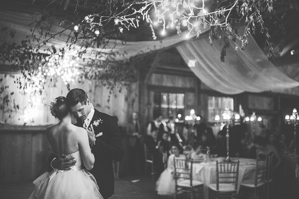 black and white emotional dance photo at wedding reception by Jennifer Moher Photography - Ontario | via junebugweddings.com