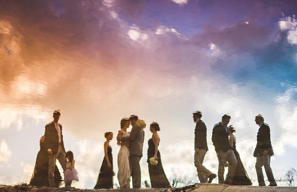 Colorful Sunset Group Wedding Party Photo By Sam Hurd Washington D C Photographer Via
