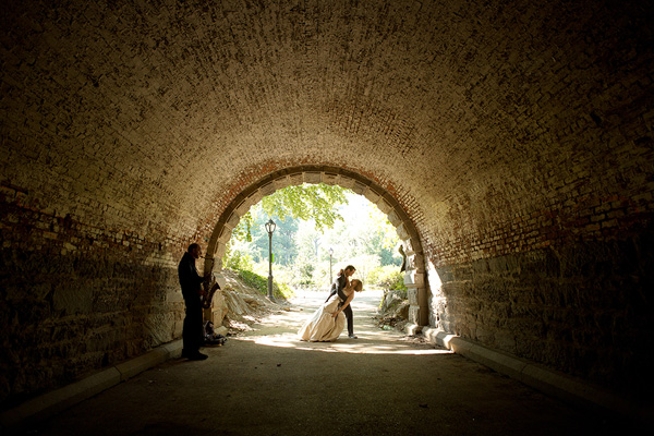 creative portrait of couple in tunnel, photo by Jeff Janke of Jeff + Amber - Arizona | via junebugweddings.com