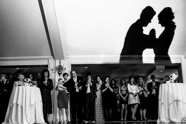 silhouetted dance photo at wedding reception by Daniel of Stark Photography - Portland | via junebugweddings.com