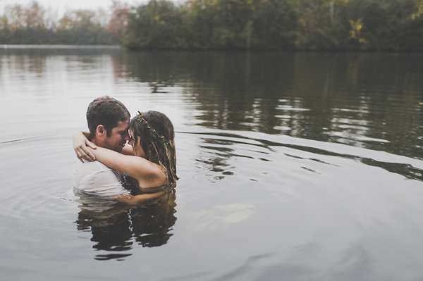 kissing in water photo by Jennifer Moher | via junebugweddings.com