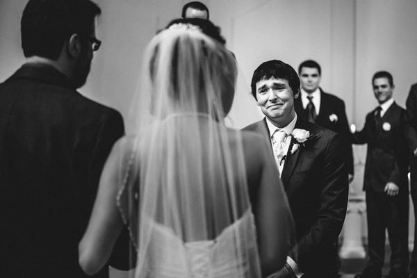 emotional first look wedding photo by Gleason Photography - Nebraska wedding photographer   via junebugweddings.com