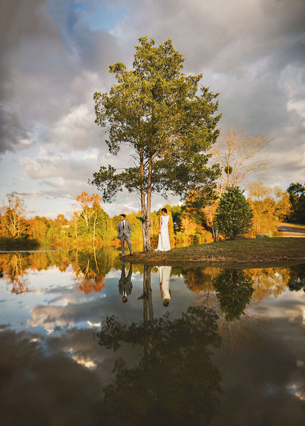 beautiful reflections of trees and water, wedding photo by Sam Hurd Photography | via junebugweddings.com