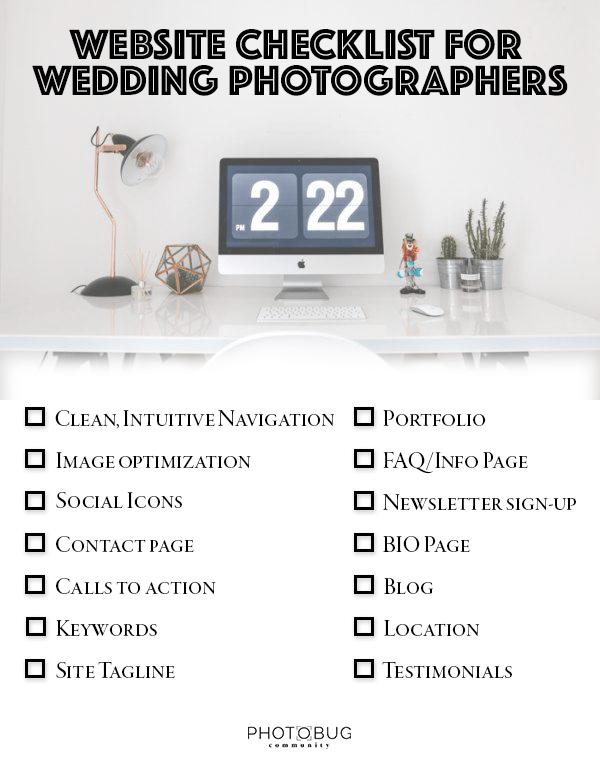 Website Checklist for Wedding Photographers | Photobug Community