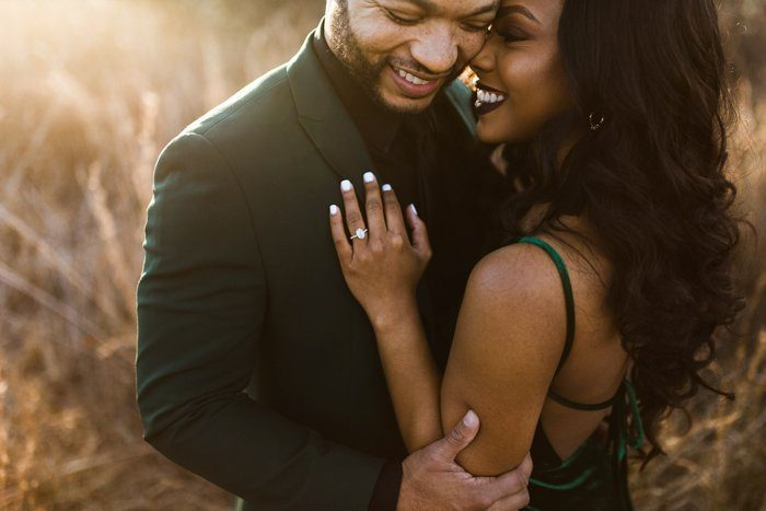 engagement outfit inspiration with matching green hues