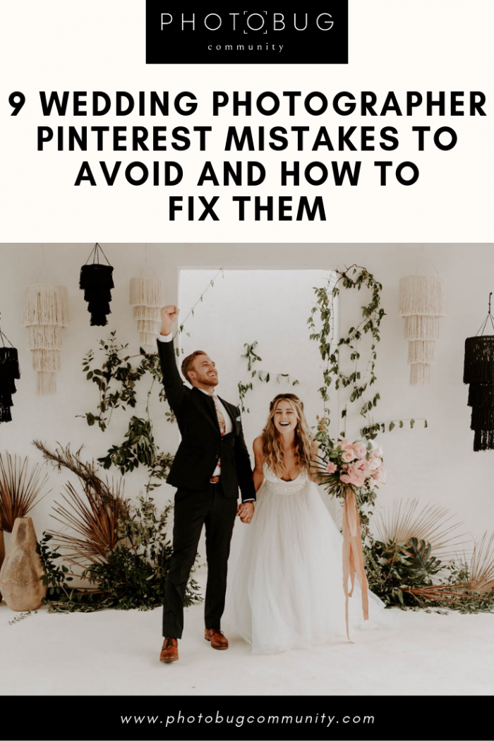 couple excited at their altar with text overlay that says avoid mistakes using Pinterest