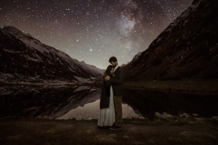 celestial sky engagement photo