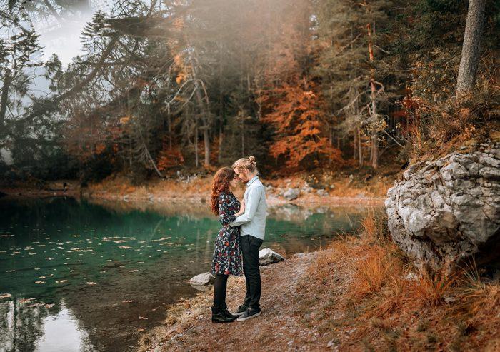 autumn trees engagement photo