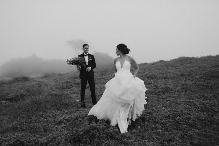 running black and white wedding