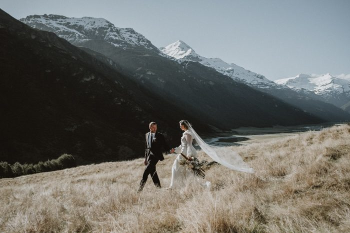 snowy mountain field wedding photo