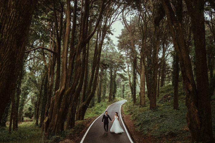 windy road wedding photo 2020