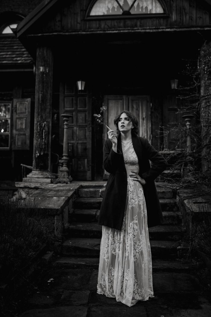 black and white smoking bride top pics