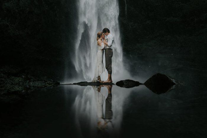 waterfall wedding portrait december 2020