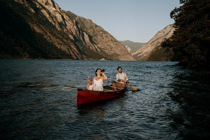 lake wedding send off photo