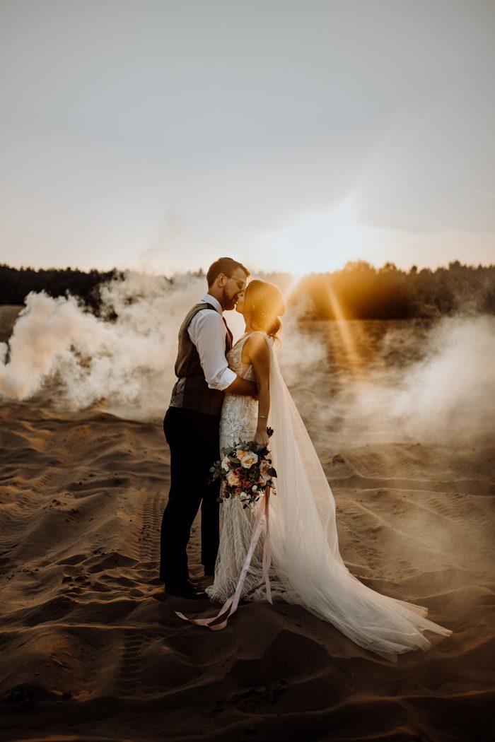 smoke wedding portrait
