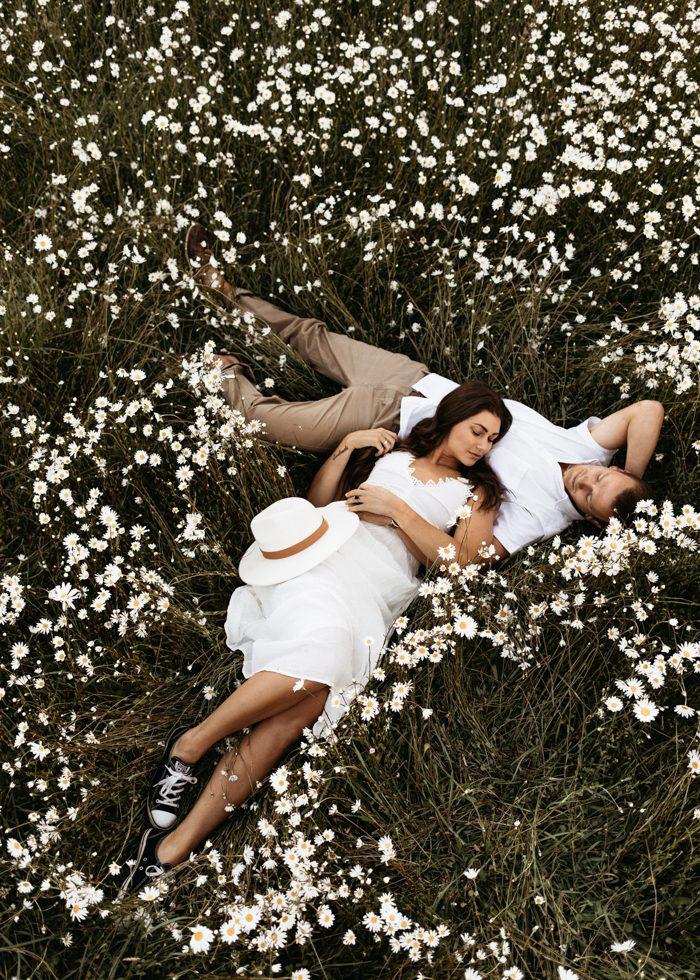 floral wedding portrait