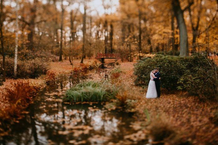 january autumn forest wedding portrait