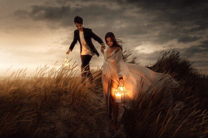 lantern wedding portrait