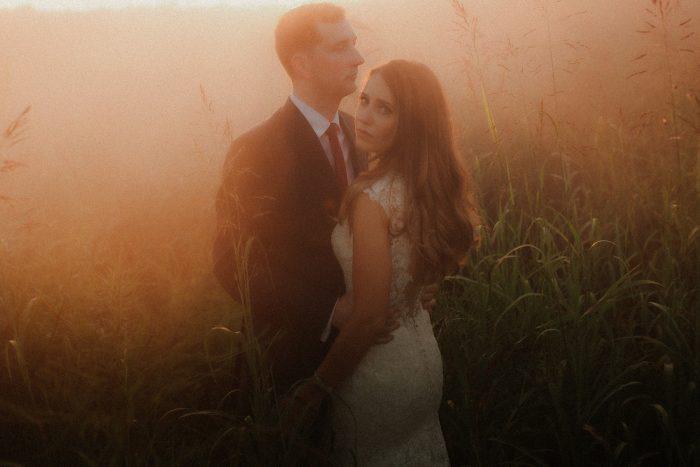 warm golden light couple