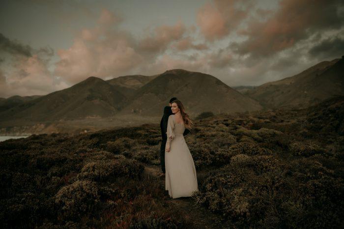 moody landscape wedding couple