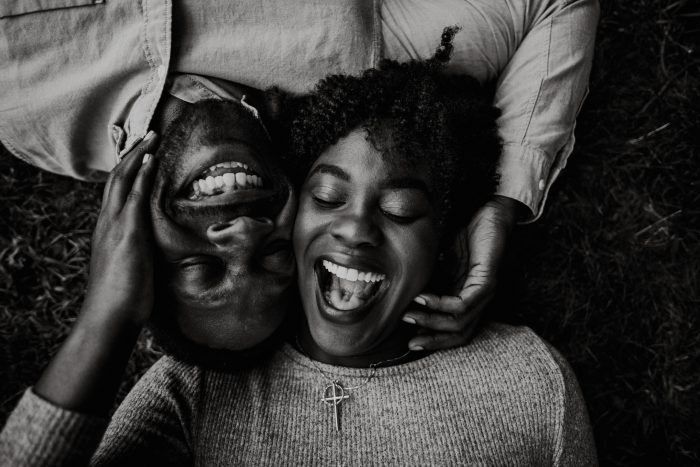black and white happy portrait