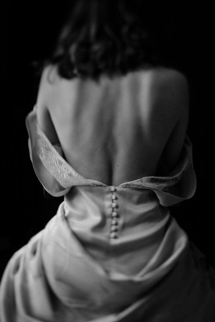 black and white bride's back