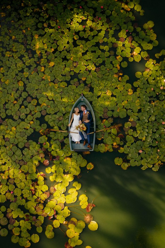 March Top Pic drone photo couple in rowboat