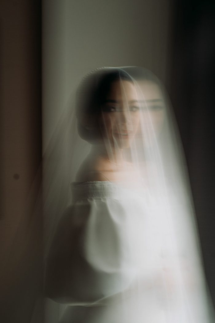 artistic blurred bridal portrait for March