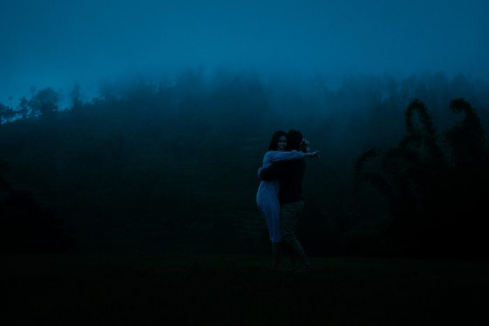 deep blue hour photo of couple
