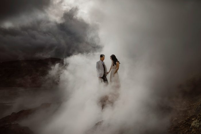 steam and cloudy wedding photo