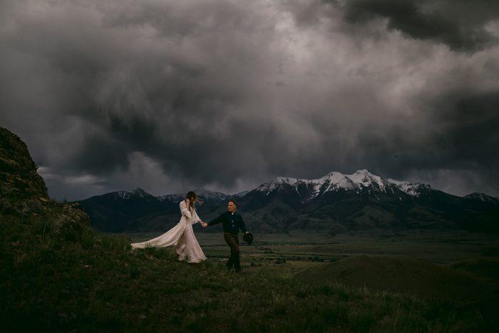 dark grey stormy wedding portait