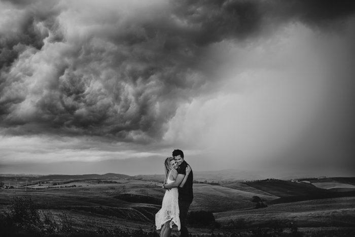 black and white storm warning photo