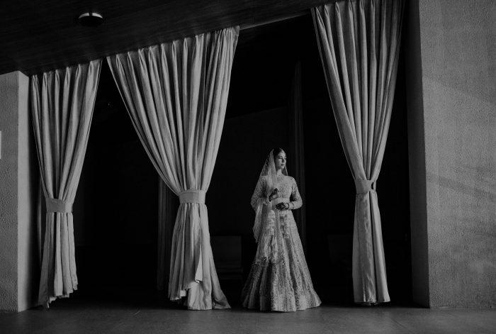 black and white elegant Indian bride