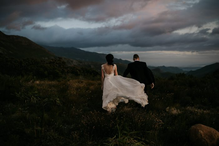 wedding gown blowing in the wind