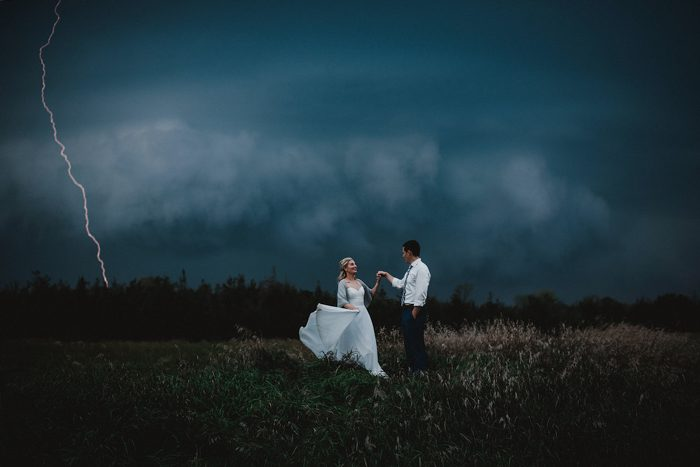 darm and gloomy wedding portrait