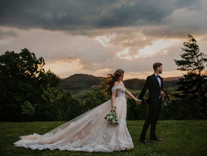 gorgeous bride and groom during a storm