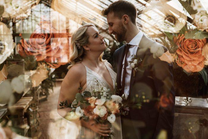 floral double exposure wedding portrait