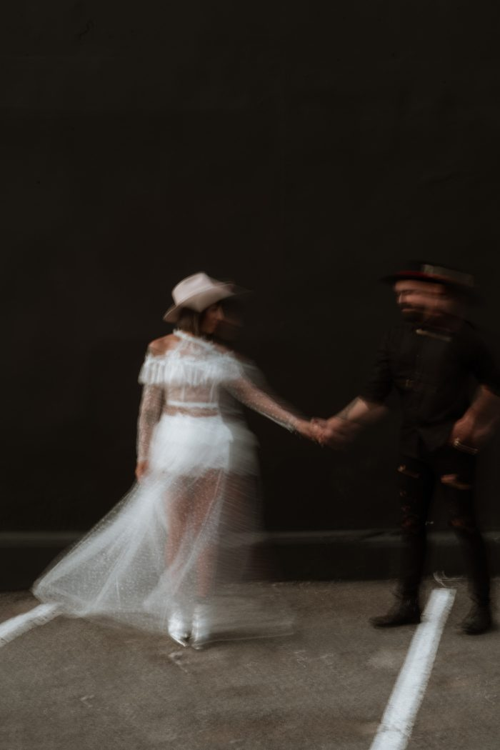 intentional blur photo of couple in city