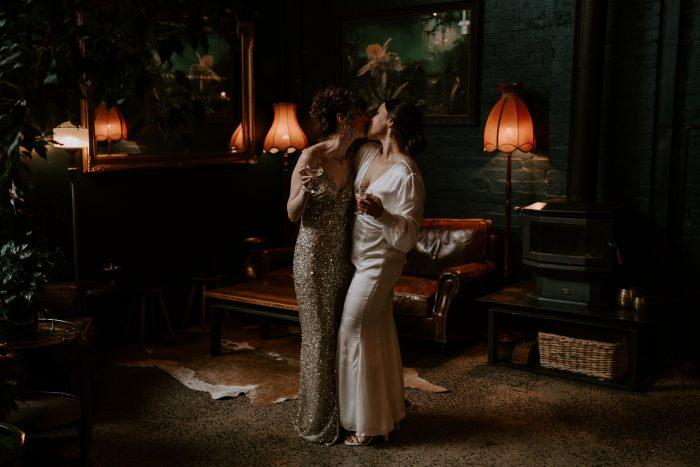wedding couple inside eclectic room