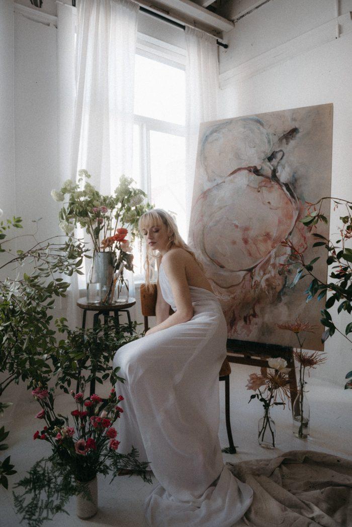 flower power bridal portrait with art