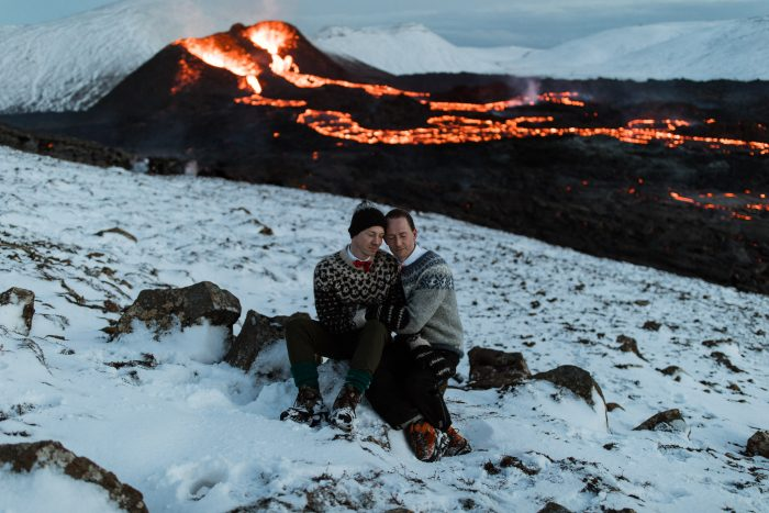 same sex couple volcano and lava in Iceland