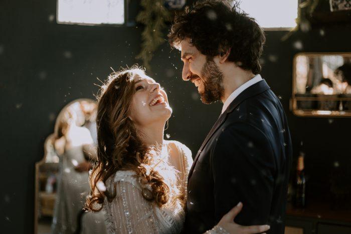 joyful wedding day portrait