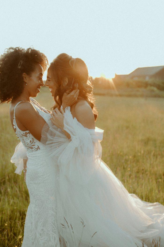 same sex joyful wedding day portrait