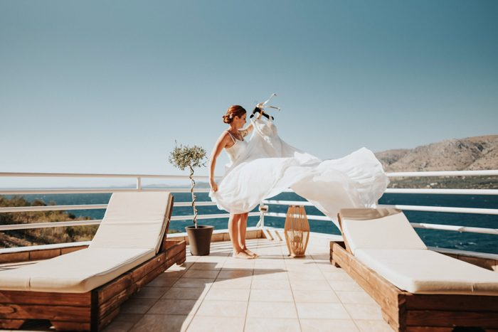 bride standing on a boat business finance tips graphic