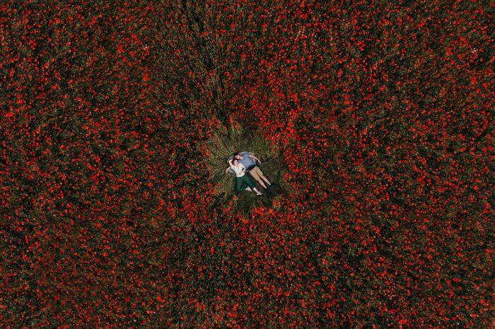 drone shot of couple in poppy field