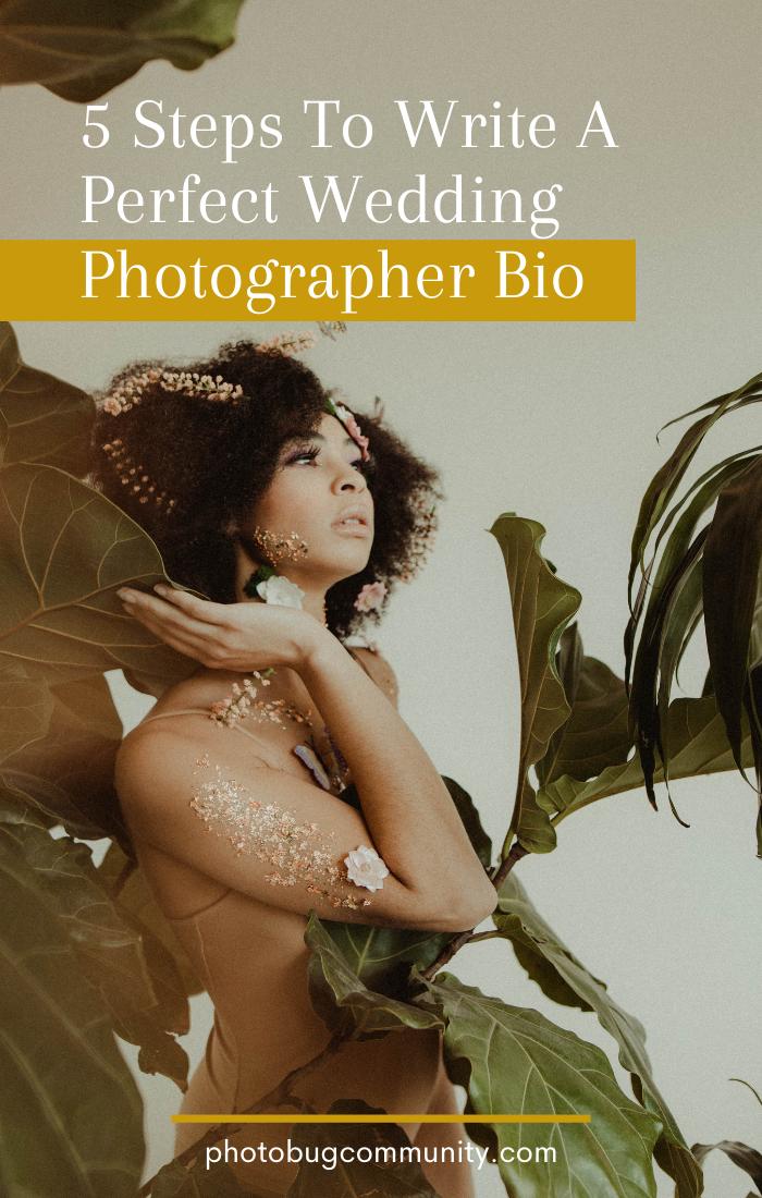 how to write the perfect wedding photographer bio graphic