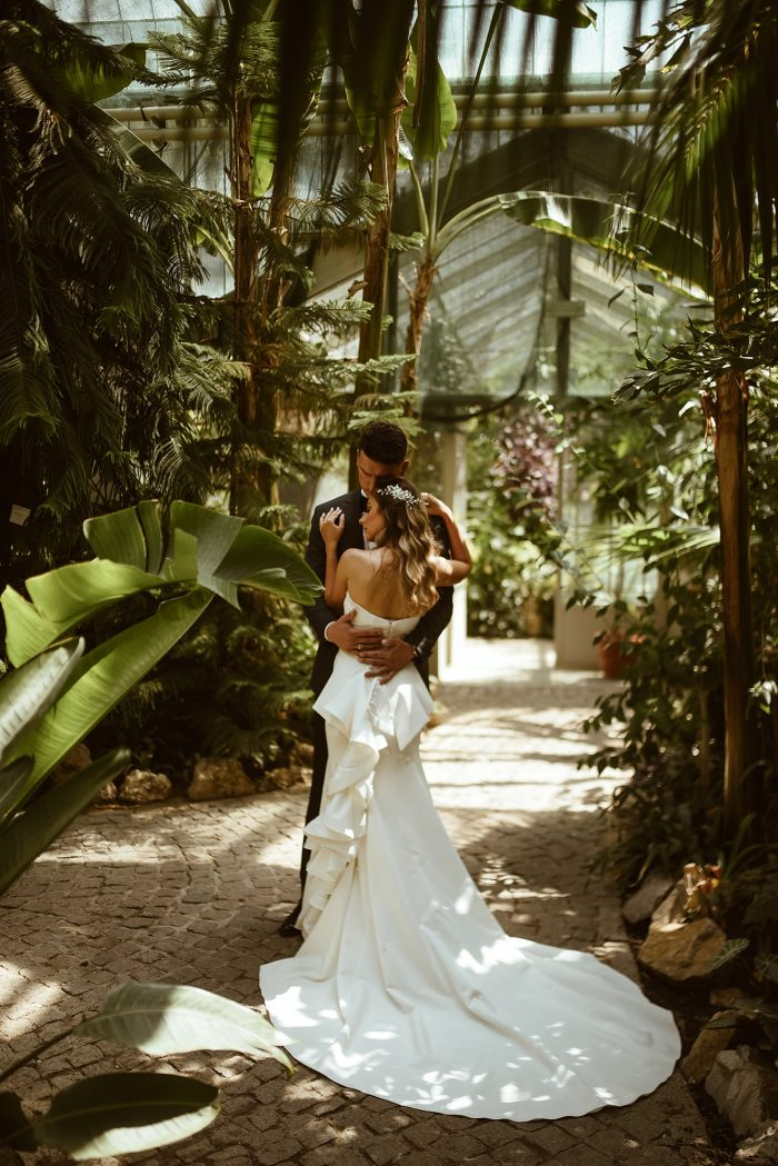 wedding day couple in conservatory