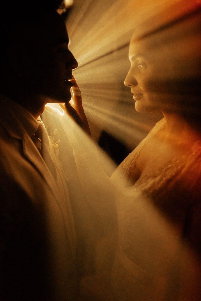 hazy photo couple with golden light
