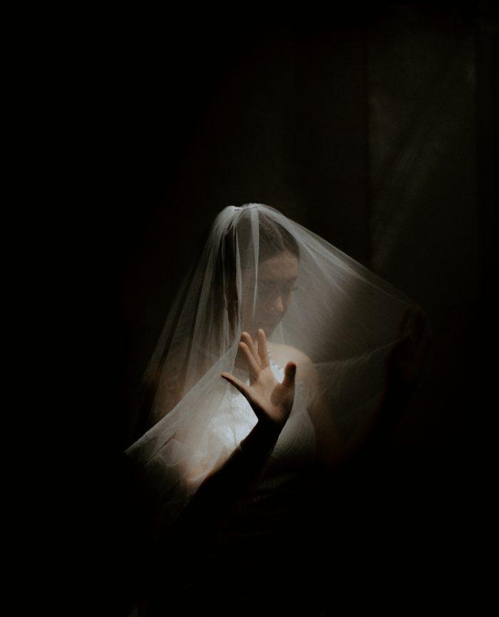 dramatic bridal portrait with veil